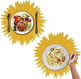 JAHEMU Tischset Rund Platzsets Sonnenblumen Tischset Abwaschbar Silikon Platzdeckchen rutschfest Coaster Holder Table Mats Set für Küche, Party, Hochzeit Dekoration, 2 Stück