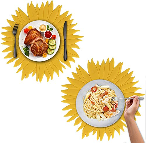 JAHEMU Placemats Set of 2 Silicone Trivet Sunflower Hot Pot Holder Anti-Slip Cup Coasters Bowl Tableware Mat Heat Resistant Pans Pads for Countertop Kichen