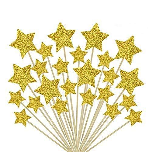 ZARRS Estrellas para Decoración,50 Pack Decoración para Pasteles Decorativos para Tartas Cupcake Toppers para Bodas Cumpleaños Partes Oro 9.2CM