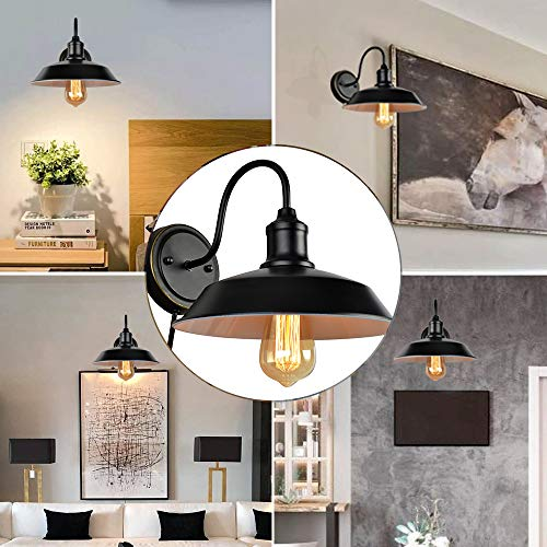 Stepeak Black Wall Sconce with Plug in Cord and On Off Toggle Switch, Gooseneck Retro Wall Light Fixtures for Bedroom Nightstand, Barn or Warehouse Set of 2