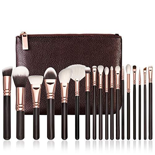 MEIYY Pinceau De Maquillage 18Pcs Pinceaux De Maquillage En Or Rose Outils De Jeu Complet Oeil Pinceau Poudre De Mélange Avec Sac À Cosmétiques