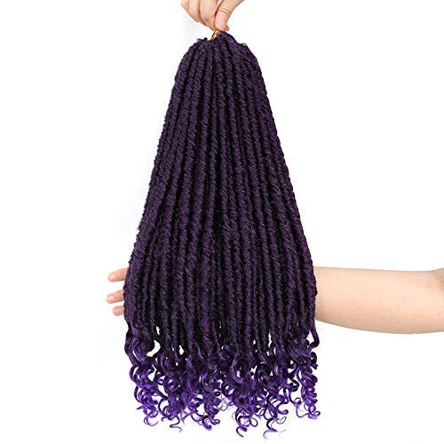 Crochet Braids 18Inch Purple Crochet Hair with Curly Ends Goddess Crochet Synthetic Braiding Extensions 6Pack/Lot #purple