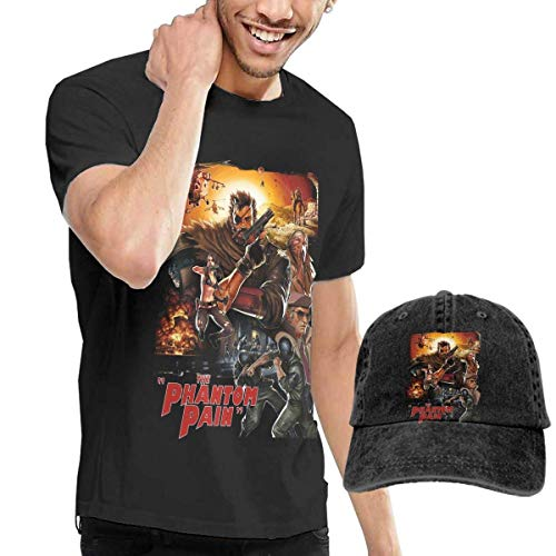 Baostic Camicie e T-Shirt Sportive Top e Bluse, Men's Metal Gear Solid 5 Tee And Washed Denim Baseball Dad Hat Black