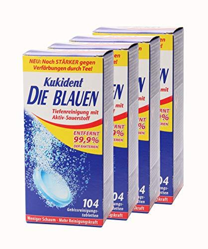 Kukident - Pastillas limpiadoras bucales (4 unidades, 104 unidades), color azul