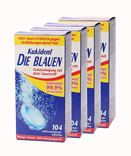 4x Kukident Die Blauen Gebissreinigungstabletten Gebissreiniger Reiniger 104 Stk.