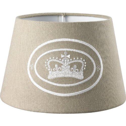 Schirmo Lampenschirm Crown Kensington 25cm Baumwolle hellbraun rund, leicht konisch E27