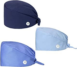 Folouse Working Cap with Buttons, Bouffant Adjustable Tie Back Working Hats Printed with Sweatband for Women Men
