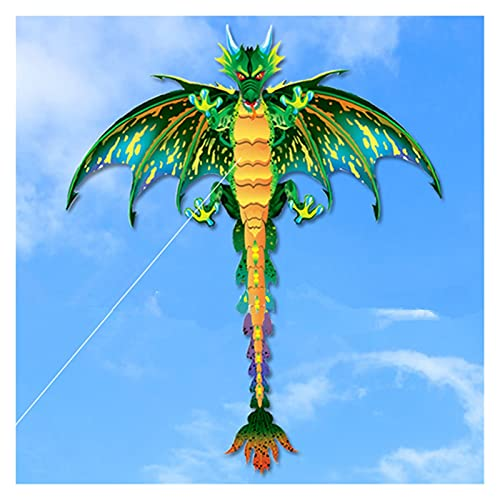 Yanqhua Drachen 3D-Pterosaurier-Drachen-Tier-Dinosaurier-Drachen-Langschwanz-Single-Line-Kite Outdoor-Sport-Spaß-Spielzeug-Kite-Kinder-Geschenk mit 100m Kite-Linie (Color : Green)