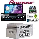 Mercedes C-Klasse W202 - Autoradio Radio Pioneer SPH-10BT - Smartphone Empfänger mit Bluetooth | Spotify | Android | iPhone | 4x50Watt Einbauzubehör - Einbauset