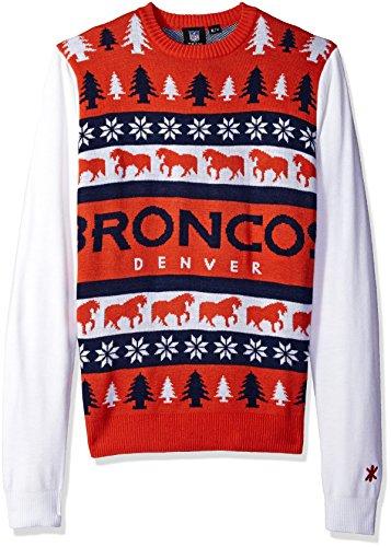 NFL丹佛野马队的文字标记丑陋的毛衣,大的