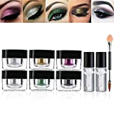 Glitter Eyeshadow Palette, PIXNOR 6 Colors Highly...