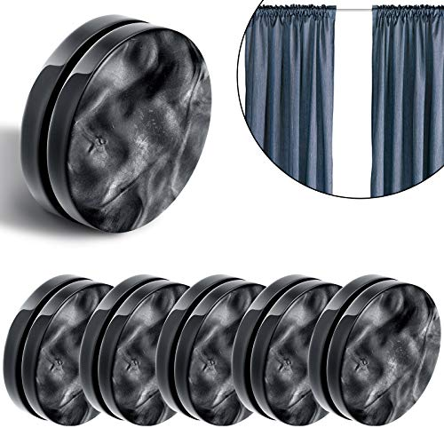 Magnetic Curtain Weights Round Magnet Shower Curtain Drapery Weights Window Curtain Tablecloth Pendant Weights to Stop from Blowing (Black,6 Pairs) (Black,6 Pairs) (Black,6 Pairs)