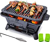 IronMaster CI-1608,Pre-Seasoned Cast Iron Charcoal Grill Small,Mini Portable Design for Indoor & Outdoor Barbecue hibachi,2 Heights,Air Control & Coal Door,5+ Servings