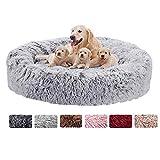 Haoye Cama Calmante Redonda, Cama Perros Cojín Gatos Sofá para Perros Donut Felpa Deluxe Plush para Perros y Gatos Grandes - Gris Ø 120cm
