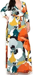 Janette Fashion Fall First Love Faux Wrap Maxi Plussize Dress