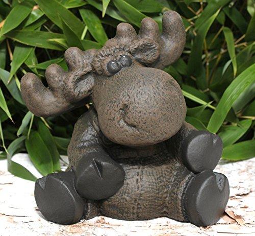 Steinfigur Elch sitzend - Dunkelbraun, Deko, Figur, Garten, Stein, frostsicher