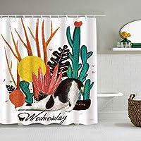 シャワーカーテン猫サボテン水曜日防水バスライナーフックが含まれていますdBathroom装飾的なアイデアポリエステル生地アクセサリー
