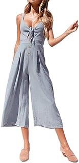 Minetom Mono Mujer Verano Casual a Raya Sin Mangas Corbata Cintura Pantalones Largos de Pierna Ancha de Mono Talle Alto