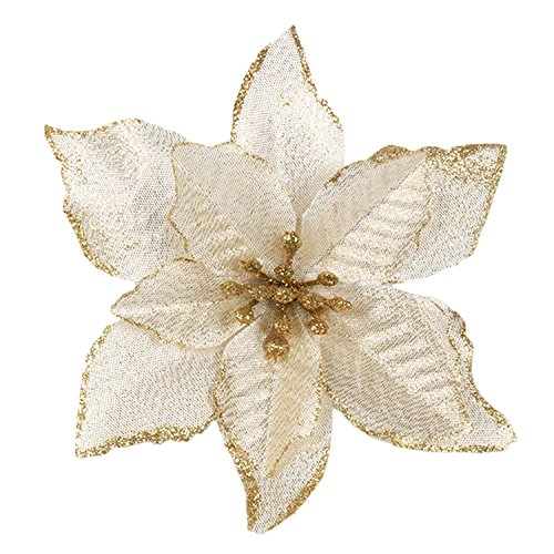 Fiori Albero Natale,Gosear 20 pz Natale Glitter Artificiale Fiori Ornamenti Decorazioni Per Natale Albero Corone Partito Matrimonio Oro