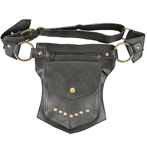 Black Leather Travel Belt, Fanny Pack with Gold Studs and Metal Grommets, for Men & Women, One Size Fits All, Perfect for Burning Man Festivals, and More