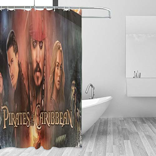 Cute Doormat Pirates of the Caribbean Duschvorhang, wasserdicht, waschbar, Polyestergewebe, 3D-Duschvorhänge für Badezimmer mit Haken, 167,6 x 182,9 cm
