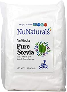 NuNaturals Pure White Stevia Extract Powder Natural Sweetener, 1 Pound