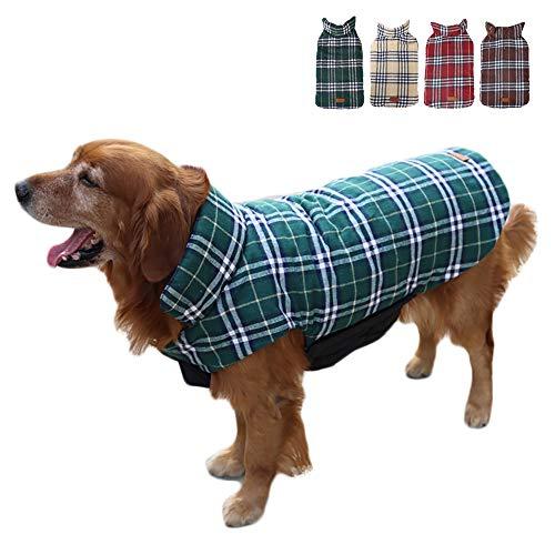 TFENG Hundemantel Hundejacke für Hunde Welpen, Gepolstert Puffer Umkehrbares Design Weste Regenmantel (Grün, Größe S)