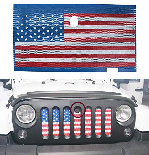 American USA Flag Front Grille Insert Mesh Net with Key Hood Lock for 2007-2018 J-eep Wrangler JK JKU Accessories