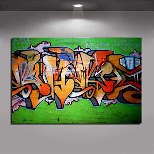 EBONP Quadro su Tela Pittura Decorativa Arte Graffiti Poster Astratto Graffiti Stampe su Pittura Moderna Jet Grind Radio in Verde Decorazione Domestica Immagine da Parete Senza cornice-28x40inch