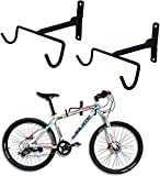 Wall Mount Bike Hanger Flip Up Bike Rack for Garage with Screws (2 pcs black)