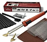 Jounjip Plastic Welding Repair Kit for Bumper, Kayak, Canoe - 2 Tips, 20 Black Plastic Rods, 2 Mesh, 80W Iron, 110V Only