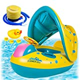 Inflatable Baby Pool Float with Sun Canopy Shade, Swimming Floats Boat with Canopy