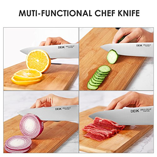 DEIK Knife Set High Carbon Stainless Steel Kitchen Knife Set 14 PCS, Super Sharp Cutlery Knife Set with Acrylic Stand and Serrated Steak Knives