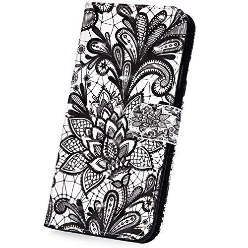 Surakey Hülle für Sony Xperia XA1 Ultra Handyhülle Brieftasche Stil Handytasche PU Leder Schutzhülle Flip Hülle Cover Glitzer 3D Bunte Muster Lederhülle Wallet Hülle Ständer Kartenfächer, Schwarz Blumen