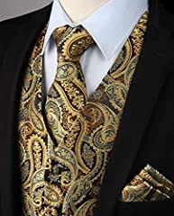 Hisdern Men's Paisley Floral Jacquard Waistcoat&Necktie and Pocket Square Vest Suit Set, Gold, L(Chest 46inch) #3