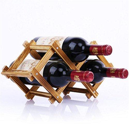 Madaye Massivholz Kreativ Falte Weinregal robust langlebig 3 Flaschen Weinregal 37*21*13cm