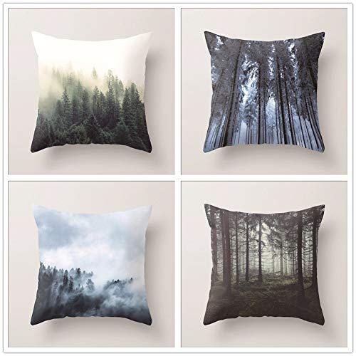 Dekorative Kissenbezüge 4er Pack Wald Kissenbezüge Platz Samt Sanft Throw Pillow Covers für Auto Schlafsofa Couch Kissenhülle mit Verstecktem Reißverschluss Deko Kissenbezug B3552 Pillowcase,40x40cm