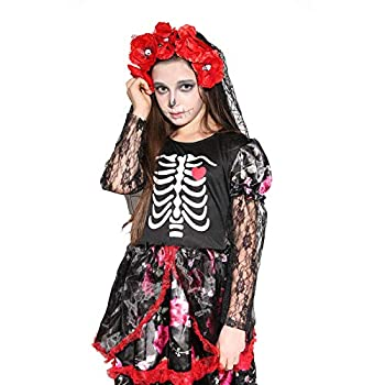 Girls Skeleton Costume Kids Halloween Zombie Bride Cosplay Dress - Bride 10-12 Year