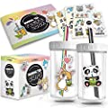 2-Pack Reusable Bubble Tea Cup Set – 22oz Glass Boba Tea Cups with Lids & Straws – Bubble Tea Gift Set Includes Recipe Book & Stickers - Reusable Boba Cup for Milk Tea & Smoothie & Iced Coffee