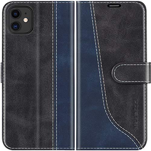 Mulbess Handyhülle für iPhone 11 Hülle Leder, iPhone 11 Handy Hülle, Modisch Flip Handytasche Schutzhülle für iPhone 11, Schwarz