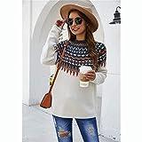 Sweater Clothing Rueda De La Fortuna Retro Jersey De Jacquard Nacionales Viento Sweater Clothing (Color : Blanco, tamaño : S)