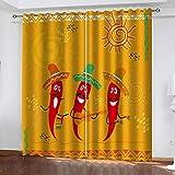 MXYHDZ Cortinas Opacas de Salon - Chile rojo de dibujos animados Impresión 3D, Dormitorio Aislantes Termicas con Ollaos - 160 x 160 cm para Oficina y salón, Dormitorio habitación de los niños, 2 Pieza
