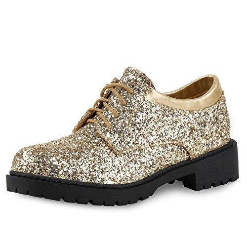 SCARPE VITA Damen Halbschuhe Lack Metallic Glitzer Schnürer Dandy Style Schuhe 155286 Gold Lack 39