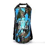 Sacs Etanches Camouflage Dry Bag Bâche PVC pour Activités de Plein Air et Sports Camping Nautique Kayak Pêche (Bleu, 30L)