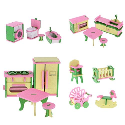 oshhni 16pcs Wooden Miniature Furniture Miniature Doll House Decor Gifts