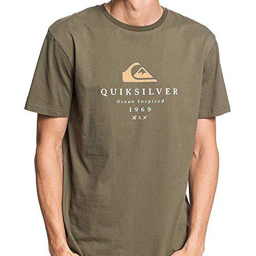 Quiksilver First Fire - Camiseta para Hombre Screen tee, Hombre, Kalamata, M
