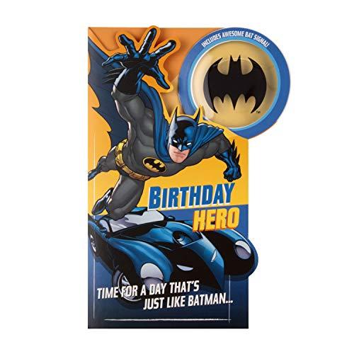 Tarjeta de cumpleaños de Batman para niños de Hallmark – con proyector de señal de murciélago
