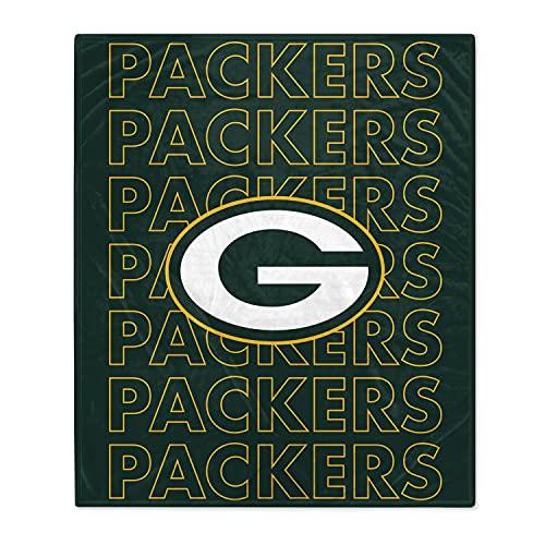 Pegasus Sports NFL Echo Team Wordmark Plush Blanket- Green Bay Packers, Team Color, 60x70