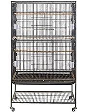 Froadp Jaulas para Pájaros Casa Grande de Pajarera Negro con Bandeja Extraible y Ruedas para Cacatúas Loros(79x51.8x132cm)