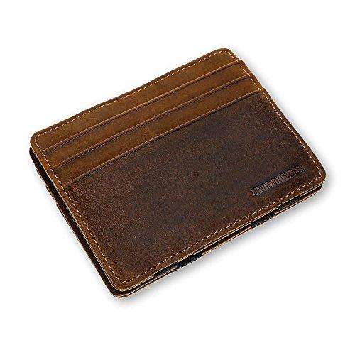URBANHELDEN - Magic Wallet - Monedero mágico con protección RFID - Cartera de piel de búfalo auténtica - Tarjetero para tarjetas de crédito - Cartera para hombre, marrón (Marrón) - 6100004-2017